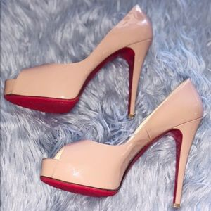 Christian Louboutin Nude Patent Open toe 'PRIVE'